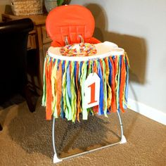Instructions for how to make a high chair birthday banner with step by step pictures.