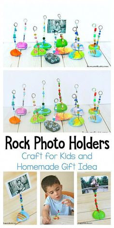 Painted Rock Photo Holder Craft for Kids: These make perfect homemade gifts for Christmas Mothers Day or any special day! A fun art project for children of all ages! The post Painted Rock Photo Holder Craft for Kids appeared first on Easy Crafts. Cool Art Projects, Diy Craft Projects, Crafts To Do, Fun Projects For Kids, Art Project For Kids, Creative Ideas For Kids, Family Art Projects, Mother's Day Projects, Summer Art Projects