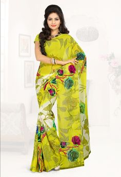 043280b03fc20 Georgette  Yellow Floral Print Saree  blouse  indian  outfit  shaadi  bridal