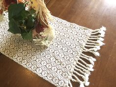 Handwoven in cotton, this table runner would add that special farmhouse touch to any table. Farmhouse Table Runners, Modern Farmhouse Table, Farmhouse Dining Room Table, Dining Room Table Decor, Farmhouse Decor, Dog Bowl Mat, Cotton Decor, Rug Sale, White Rug