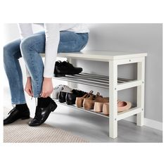 IKEA - TJUSIG, Bench with shoe storage, white, Holds min. 8 pairs of shoes. Combines with other products in the TJUSIG series. Shoe Storage White, Bench With Shoe Storage, Shoe Rack Bench, Ikea Shoe Storage, Ikea Shoe Bench, Shoe Rack Tall, Shoe Storage Apartment, Shoe Storage In Bedroom, Ikea Hack Bench