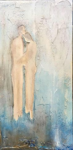 Rustic Painting of Couple, Textured Painting, Mixed Media, Modern Art, Contemporary Art, Acrylic Painting, Fine Art, Abstract Painting - pinned by pin4etsy.com