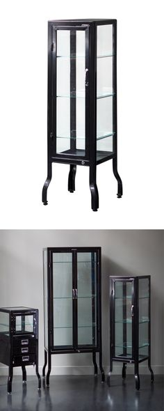 It'll draw you in with its sleek metal design, but you'll stay for the airy glass windows and shelves. A great place to store glassware, dining utensils, or decorative items from your life's travels, t...  Find the Swanson Glass Cabinet, as seen in the Urban Holiday Entertaining Collection at http://dotandbo.com/collections/styleyourseason-urban-holiday-entertaining?utm_source=pinterest&utm_medium=organic&db_sku=113542