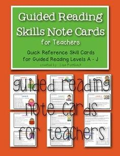 Guided Reading Note Cards for Teachers FREEBIE (quick reference list of important skills to teach at each guided reading level)  Levels A - J (Fountas/Pinnell leveling)  Kdg through beginning second grade  *FREE!!!