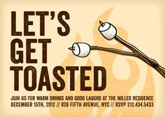 """Toasted"" S'mores Holiday Party Invitation by Sarah Curry"