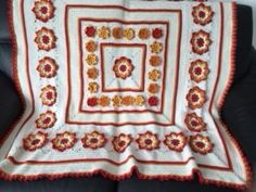 Finished Sunshine Flower Blanket - very pleased with the result! Flower Colouring In, Free Crochet, Knit Crochet, Crochet Designs, Crochet Ideas, Afghan Blanket, Afghan Crochet Patterns, Knitted Blankets, Sunshine