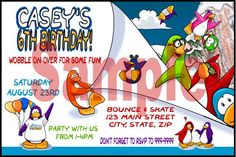 Club Penguin Birthday Party invitations