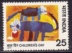 "India  1977 Children's Day "" Cats (Nikur Dilipbhai Mody)"" SG867"