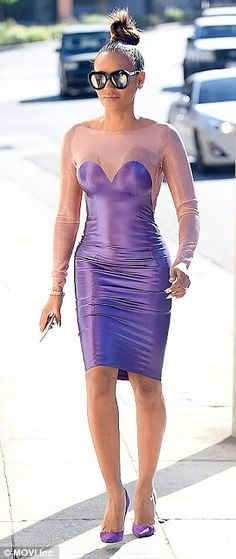 Standing out from the crowd: The Spice Girl was full of confidence as she headed to Serafina restaurant in the city sunshine