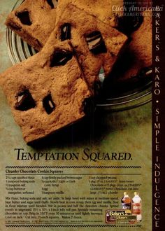 Temptation squared: Classic cookie bars recipe from 1987 Retro Recipes, Old Recipes, Cookbook Recipes, Vintage Recipes, Wine Recipes, Vintage Food, Vintage Ads, Bakers Chocolate, Chocolate Recipes