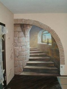 Ideas wall stone interior stairs for 2019 Art Mural 3d, Mural Wall Art, Mural Painting, Painted Wall Murals, Image Painting, Stone Interior, Interior Stairs, Castle Mural, Wall Design