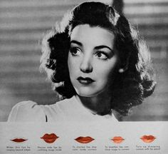 Vintage Makeup Lipstick Tips---A Hollywood Guide - Beautiful Lips A few Hollywood exercises for glamorous lips plus tips on applying lipstick for your face and nose shape 1940s Makeup, Vintage Makeup, Vintage Beauty, Winter Beauty Tips, Beauty Tips For Face, Beauty Hacks, Lipstick Style, Lipstick Tutorial, Eyeliner Tutorial
