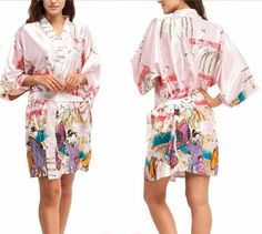 Silky Satin Knee Length Kimono Robe or Dressing Gown.