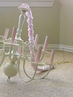 a little of this, a little of that: Chandelier Makeover! Must do this for the girls room!