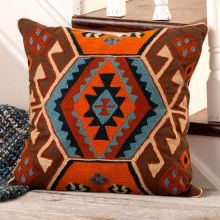 Outpost Lodge Embroidered Pillow Orange and Navy