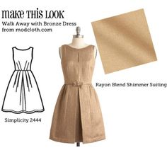 (via Make This Look: Walk Away with Bronze Dress - The Sew Weekly Sewing Blog & Vintage Fashion Community) @shellivenable