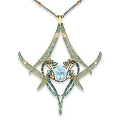 Lalique,1900   'Dragonflies' Pendant. Gold, enamel, aquamarine and diamonds. Four opposing dragonflies decorated with plique-à-joir enamel wings, embellished with circular- and rose-cut diamonds, centered on a cushion-shaped aquamarine