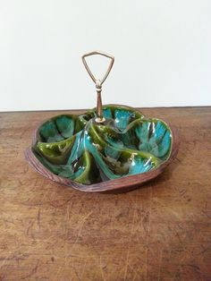 Bowl Serving Bowl-Vintage 1960's Green & by HOUSEOFMINTAGE on Etsy