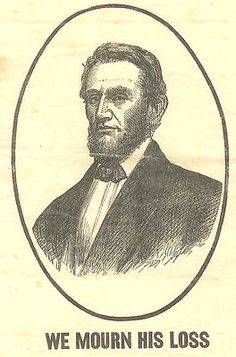 "1865 ""We Mourn His Loss"" Lincoln Memorial Paper ""Ribbon"" Woodcut. (3 1/8"" X 8 1/8"")."