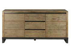 Bahut 2 portes + 3 tiroirs WORKER en acacia massif et pieds acier - Vente de Buffet, bahut, vaisselier - Conforama