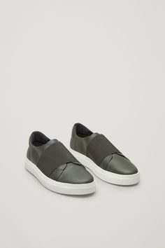 COS image 6 of Wrap-over leather sneakers in Olive Green