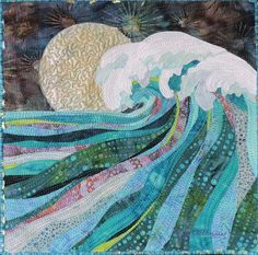 Riding the Midnight Wave by Eileen Williams. 2015 SAQA Benefit Auction quilt.