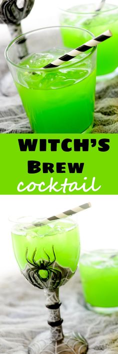 Witch's Brew Cocktail #Halloween #witch #drinks - Recipe Diaries