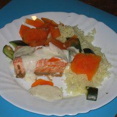 Recette Saumon riz petits légumes et sauce au citron par abra - recette de la catégorie Poissons