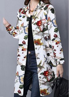 Cheap cheap women blouses Blouses & Shirts online for sale Moda Floral, Casual Outfits, Fashion Outfits, Women's Fashion, Mature Fashion, Collar Blouse, Fashion Sewing, Blouse Styles, Colorful Fashion