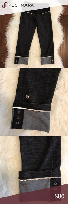"Lululemon Ride On Black Button Cuff Yoga Pants VERY RARE! Excellent used condition. No flaws. Only worn a few times. Adorable button cuff. Also features reflective details. Can be worn cuffed or uncuffed. 21.5"" inseam when cuffed and 27"" inseam when not cuffed. lululemon athletica Pants Leggings"