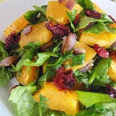 Roasted Butternut Squash with Onions, Spinach, and Craisins®    #veggies #sides #vegetables