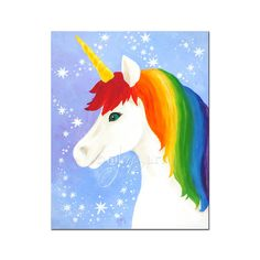 "Wall art for kids Room, Rainbow Unicorn,  16""x20"" Painting For Kids, Drawing For Kids, Art For Kids, Unicorn Head, Unicorn Art, Rainbow Unicorn, Rainbow Painting, Unicorn Painting, Projects For Kids"