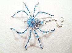 Rayne  aqua and clear glass beaded spider goth sun by llanywynns