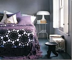 Purple Crocheted Bedspread, beautiful! I wish I had the patience to do that big of a project. Someday perhaps I will.