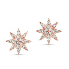 14KT Rose Gold Diamond Starburst Stud Earrings Measures 1cm in diameter   Color 14KT Rose Gold   Primary Stone Diamond   Approx. Carat Weight .17   Number of Stones 32   sku FSASE0132-R-FS ------ About the designer:  Born in Paris, to Danish diplomat parents, designer Anne Sisteron began her love for timeless jewelry from an early age. Despite her natural talent and eye for distinction, her years working as a model for ELITE exposed her to the visions of designers around the world, further…