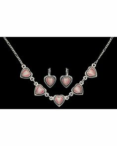 Pink Heart Earrings and Necklace Set. Love...