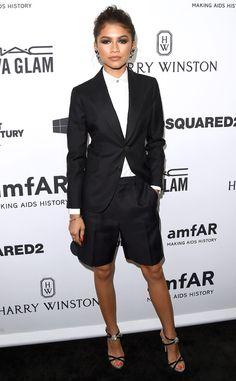 Zendaya wearing boyish look at amfAR's Inspiration Gala Los Angeles at Milk Studios on October 2015 in Hollywood, California. Zendaya Outfits, Zendaya Style, Zendaya Fashion, Zendaya Coleman, Stevie Nicks, Daily Fashion, Fashion News, Women's Fashion, Viva Glam