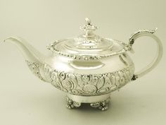 antique teapots | Sterling Silver Teapot - Antique William IV Teaware - AC Silver