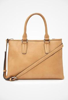 Faux Leather Satchel   Forever 21 - 1000165517