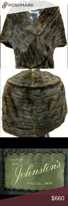 """💖Vint Weasel Dark Brown Fur Wrap By Johnston's 💖Vint Weasel Dark Brown Fur Wrap By Johnston's. Size 18.5"""" shoulders X 25""""L. Beautiful, good condition. Vintage, pre loved. Warm. Great for causal or Dressy. Vintage Jackets & Coats Capes"""