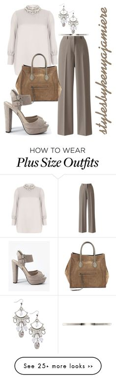 """""""Bossy 3 (plus)"""" by stylesbykenyajamiere on Polyvore featuring Evans, CÉLINE, Forever 21, plussizefashion and simplybe"""