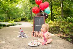Cake Smash Time!  sock monkey 1 year pics tie little guy balloons photography kiddo child boy one birthday chalk board The Woodlands Spring Conroe Houston Photographer