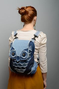 Denim fabric bag by KengarooStore on Etsy