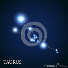 Signe de zodiaque de Taureau des belles étoiles lumineuses