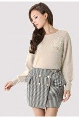 #Chicwish Crochet Pearly Fluffy Sweater in Beige