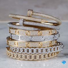 Stackable Cartier Love Bracelets and more jewelry Cartier Love Bracelet Diamond, Love Cartier, Emerald Bracelet, Cartier Jewelry, Diamond Bracelets, Love Bracelets, Diamond Studs, Jewelry Bracelets, Snake Jewelry