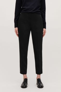 Model side image of Cos stretch-wool tailored trousers in black Black Trousers, Tailored Trousers, Jumpers For Women, Cardigans For Women, Roll Neck Jumpers, Wool Blend, Knitwear, Women Wear, Couture
