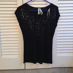 Black sequin top Black sequin embellished top. Make an offer  no trades ❌ Kische Tops Tees - Short Sleeve