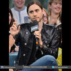 Jared Leto 30 Seconds to Mars Wears Saint Laurent Paris Black Leather Double Breasted Biker Jacket Much Music  Jacket Features:Outfit type: Genuine Leather JacketGender: MaleColor: BlackFront: Front Zip ClosureCollar: Shirt Style CollarLining: Viscose LiningCuffs: Zip Cuffs