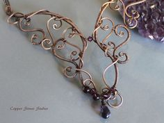 Copper Wire Wrapped Necklace Amethyst Stones, Gemstone Necklace, Scroll Necklace, Copper Wire Jewelry Handmade, Free Form Necklace, Unusual
